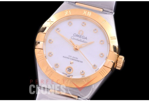 0 OMCON-29-136 Constellation Automatic Date 29mm SS/YG White Dial Eta 2688 Mod to Calibre 8700