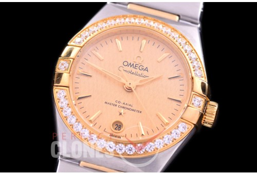 0 OMCON-29-123D Constellation Automatic Date 29mm SS/YG Gold Sticks Eta 2688 Mod to Calibre 8700