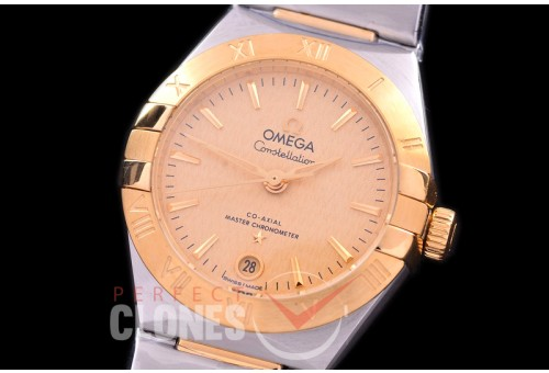 0 OMCON-29-123 Constellation Automatic Date 29mm SS/YG MOP Gold Sticks Eta 2688 Mod to Calibre 8700