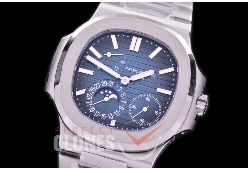 PP-5712-013S Green-F Nautilus 5712 Date/Moon Phase Power Reserve SS/SS Blue Asian Customized Calibre 320